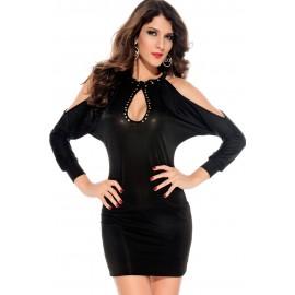 Slits Sleeves Hollow Outs Studs Club Mini Dress Black