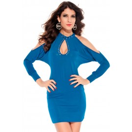 Slits Sleeves Hollow Outs Studs Club Mini Dress Blue