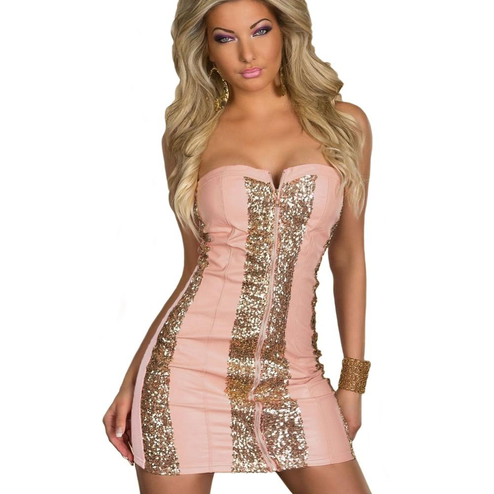 Sparkling Gold Sequin Strapless Cocktail Dress Pink