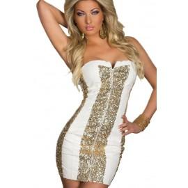 Sequin Strapless Cocktail Dress White