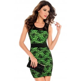 O-Neck Night Club Lace Transparent Bodycon Mini Dress Green