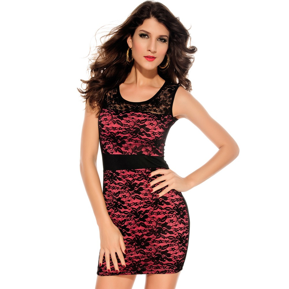 O-Neck Night Club Lace Transparent Bodycon Mini Dress Rosy