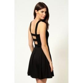 Strappy Back Fashion Dress Black