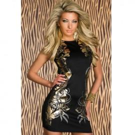 Stretchy Foil Printing Bodycon Dress Black