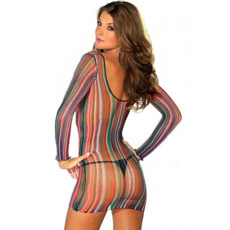 Exotic Stripe Fishnet Chemise or Swimsuit Cover-up