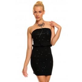 Bandeau Glittering Sequins Night Club Mini Dress Black