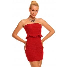Bandeau Glittering Sequins Night Club Mini Dress Red