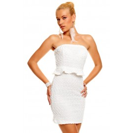 Bandeau Glittering Sequins Night Club Mini Dress White