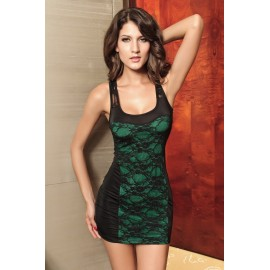 Stylish Mini Dress with Sexy Back View Green With G-String Set