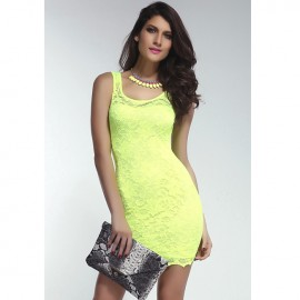 Fluorescent Yellow Lace Tank Bodycon Dress