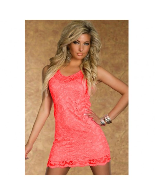 Fluorescent Pink Lace Tank Bodycon Dress