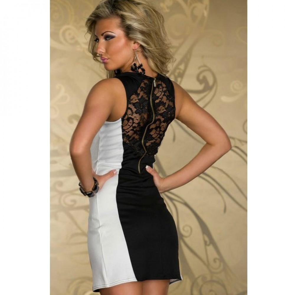 Fashion Color Blocks Tank Bodycon Mini Dress Black White