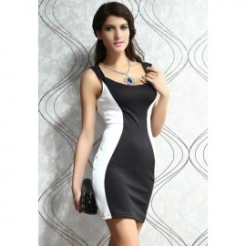 Fashion Color Blocks Tank Bodycon Mini Dress Black White