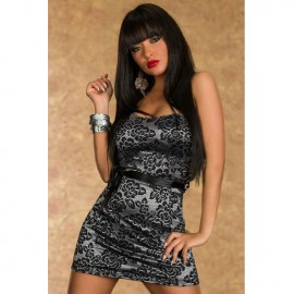 Lace Silver Tube Top Mini Dress With Matching Belt