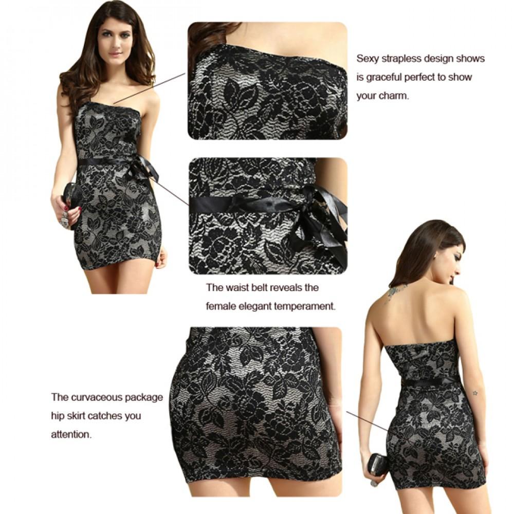 6328eba1a80 Lace Silver Tube Top Mini Dress With Matching Belt