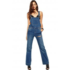 Blue Trendy Wide Leg Womens Denim Overall Jumpsuits