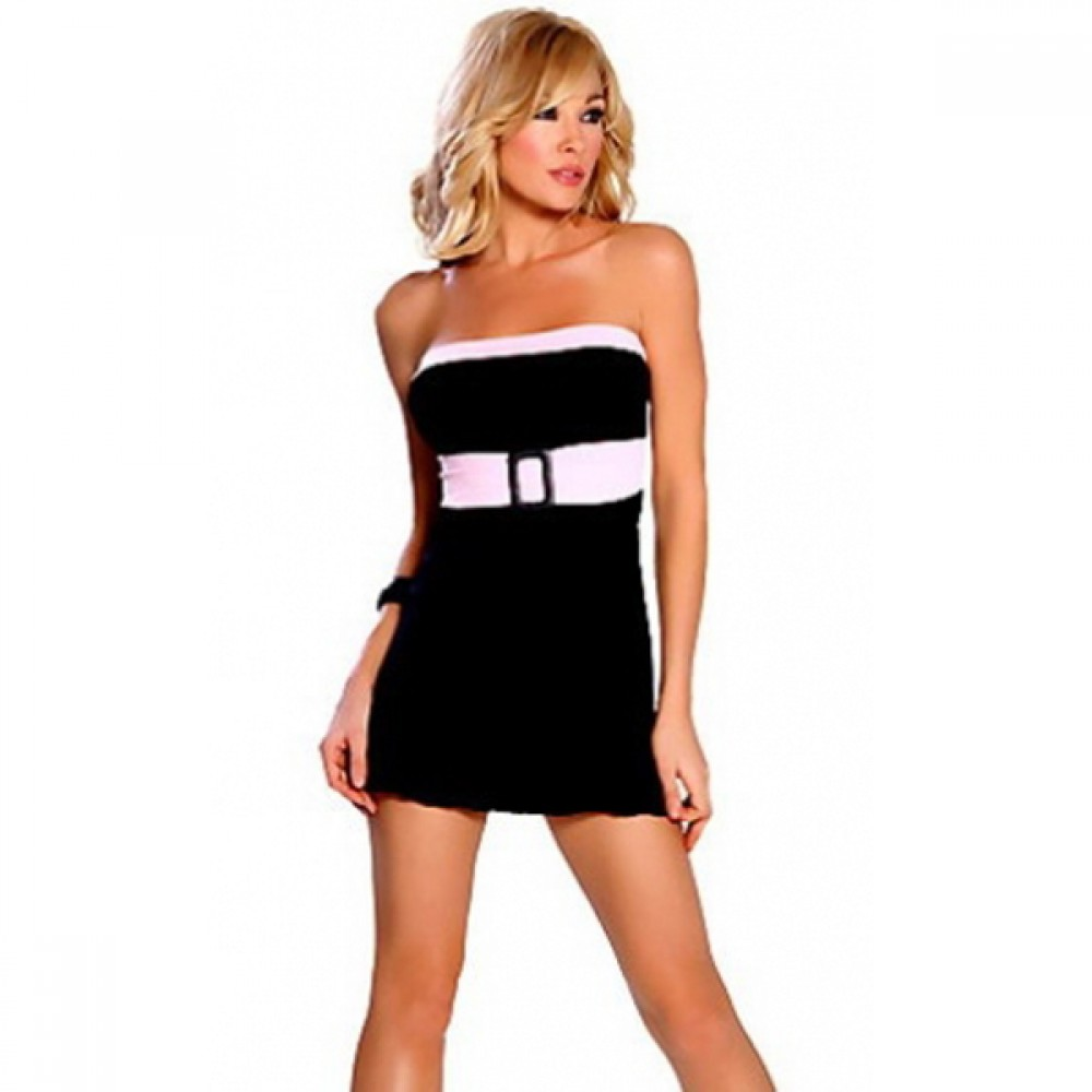 3 Tone Tube Clubwear Dress With Belt and G-String