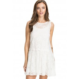 Two In One Lace Overlay Skater White Mini Dress