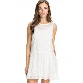 Lace Overlay Skater White Mini Dress