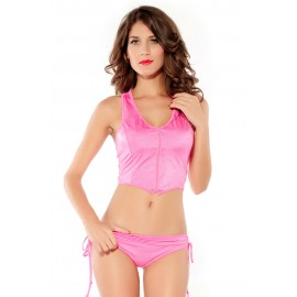 Zipper Vest and Panty Set Pink
