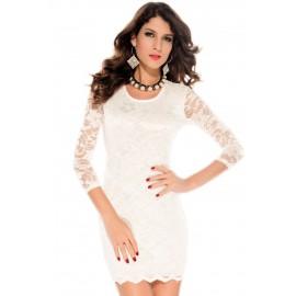 Double Deck Lace Mini Dress White