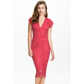 Cute V-Neck Slightly Ruched Lace Midi Dress Red