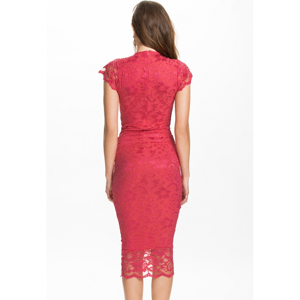 541424a9110f Cute V-Neck Slightly Ruched Lace Midi Dress Red