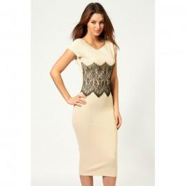 Elegant Lace Waistband Midi Dress