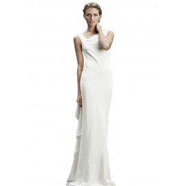 White Asymmetric Design Sexy Party Wedding Dress