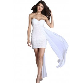 White Chiffon Hem Attached Strapless Vintage Dress