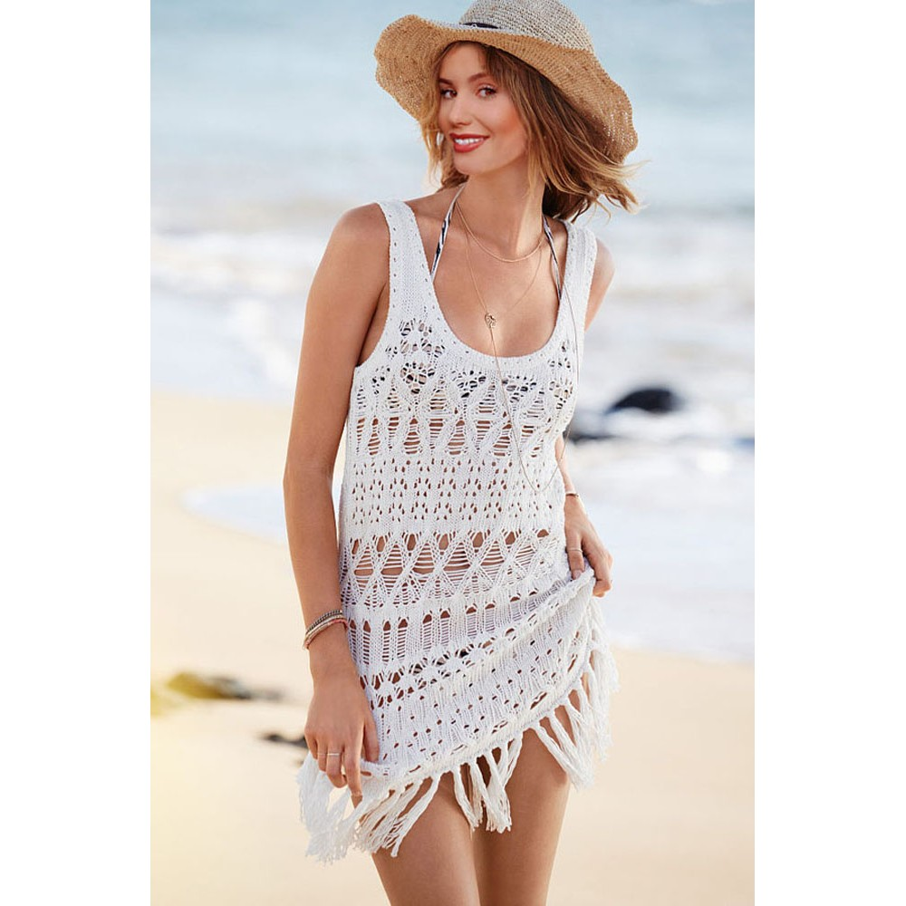 Adorable open front chiffon kimono beach bikini cover up white hand made crochet tank beach wear bikini cover ups bankloansurffo Gallery