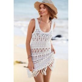 White Hand Made Crochet Tank Beach wear Bikini Cover ups