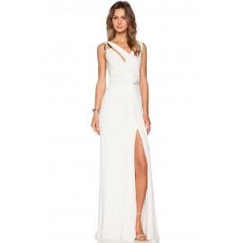 White Draped Cowl Back Gown Sleeveless Jersey Maxi Dress