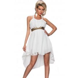 White Elegant Hi-low Chiffon Dress