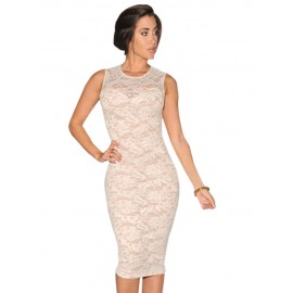 White Lace Patchwork Midi Dress