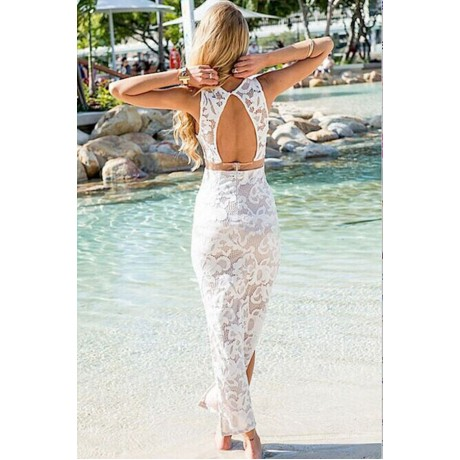 White Lace Patchwork Tail Maxi Dress