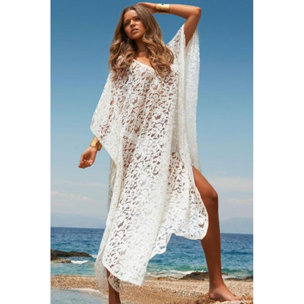 04bbe3ee26 Floral Lace Butterfly Beach Pool Side Cover up Dress White
