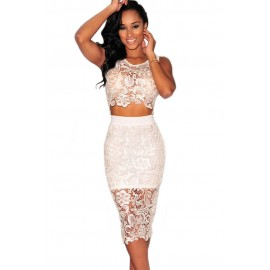 Floral Lace Knee Length Party Dress Skirt Set White