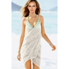 Cute Mint Floral Lace Wrapped Beach Bikini Cover-Up White