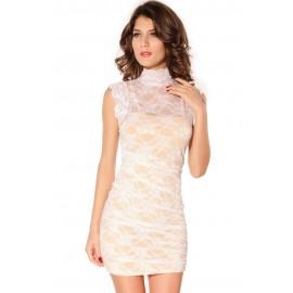 Floral Lace Overlay Sheath Mini Dress White