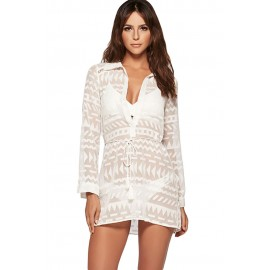 White Geometry Shirt Bikini Cover Up