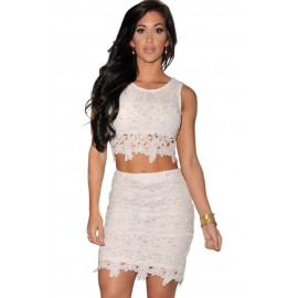 Fashion Graceful Sexy Two piece Lace Skirt Sets White