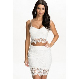 Shoulder Strap Lace Bustier Top Skirt Set White