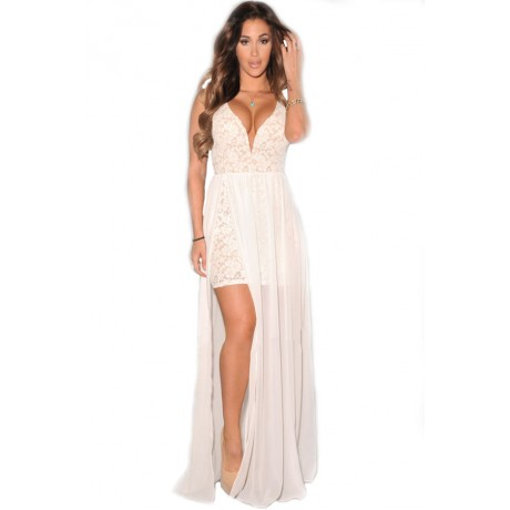 Lace Plunging Neck Slit Evening Gown White