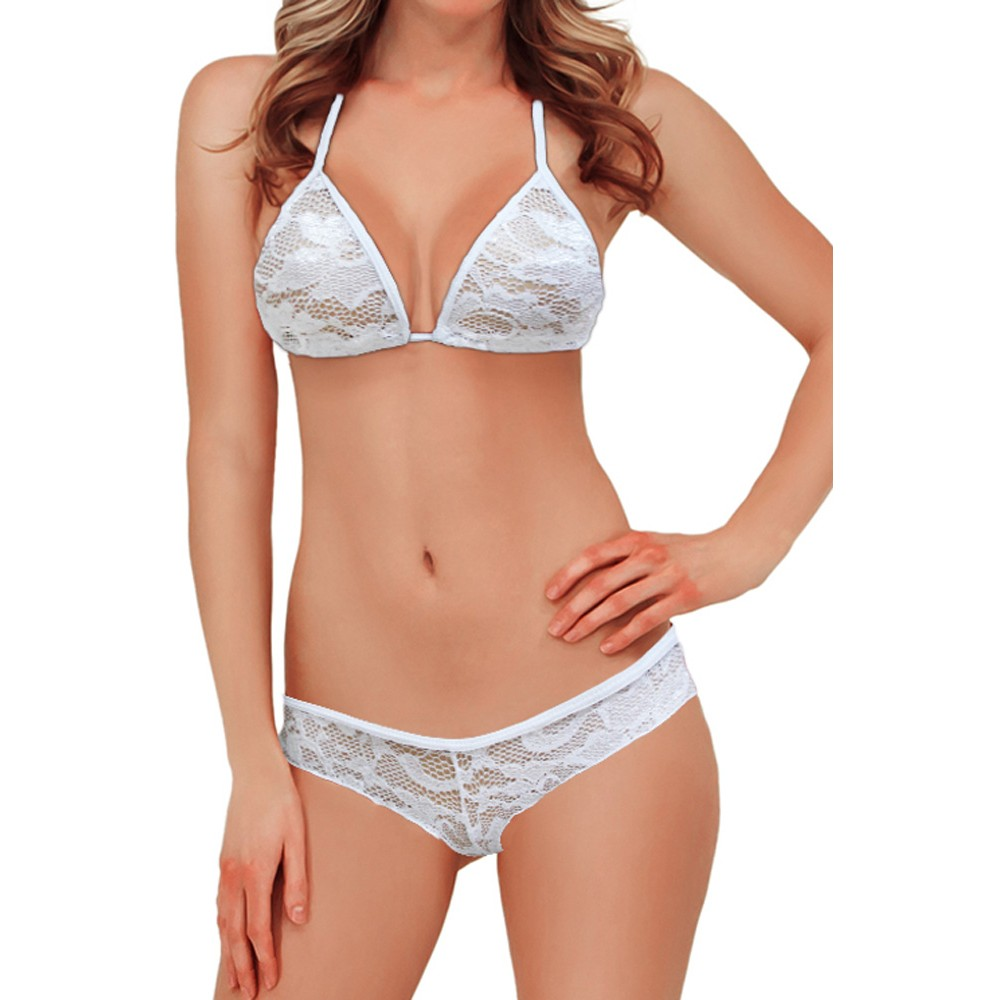 Exotic Lace Triangle Lingerie White