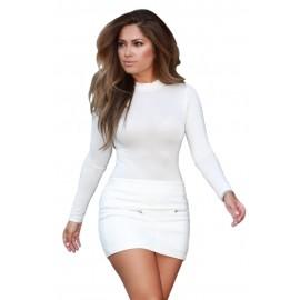 White Long Sleeve Mini Skirt Set