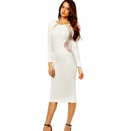 White Long Sleeves Sexy Lace In Back O-Neck Midi Dress