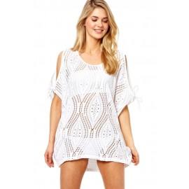 Handmade White Negril Slit Shoulder Bikini Beach Dress