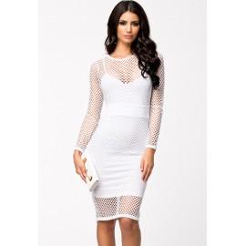 Patchwork Cutout Midi Dress White