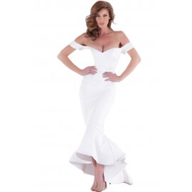 White Off Shoulder Mermaid Jersey Evening Party Dress